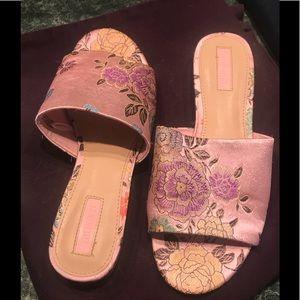 Forever 21 Pink Brocade Slides
